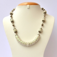 White Glitter Handmade Necklace Studded with Rhinestones