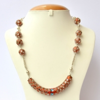 Shining Copper Handmade Necklace Studded with Mirrors & Metal Rings