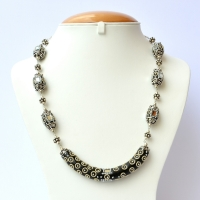 Black Handmade Necklace Studded with Metal Chains & Mirrors