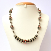 Black Handmade Necklace Studded with White + Red Rhinestones
