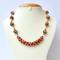 Handmade Red Necklace Studded with White & Orange Rhinestones