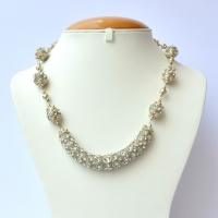 Gray Handmade Necklace Studded with White Rhinestones