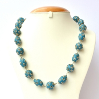 Handmade Necklace having Blue Beads with Metal Rings & Balls