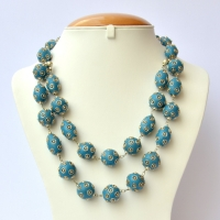 Handmade Necklace with Blue Beads having Metal Balls & Rings