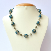 Handmade Necklace with Blue Beads having Metal Rings & Balls