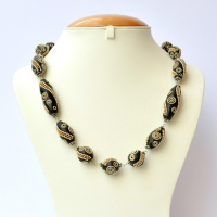 Handmade Necklace with Black Beads having Silver & Golden Chain