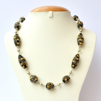 Handmade Necklace with Black Beads having Silver & Golden Flowers
