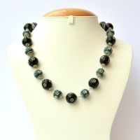 Handmade Necklace with Black & Blue Beads having Metal Flowers