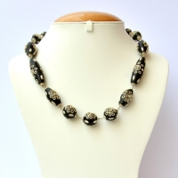 Handmade Black Necklace Studded with Beads having Metal Accessories