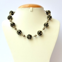 Handmade Necklace with Black Beads having Metal Flowers