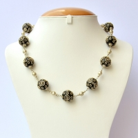 Handmade Necklace Studded with Black Beads having Metal Rings & Balls