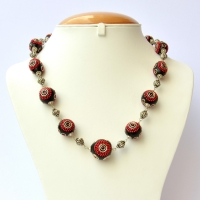 Handmade Black Necklace Studded with Red Chain