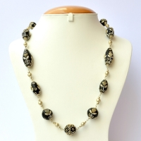 Handmade Black Necklace Studded with Metal Heart, Chain & Accessories