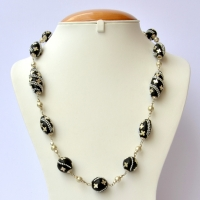 Handmade Black Necklace Studded with Metal Chain & Accessories