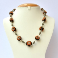 Handmade Black Necklace Studded with Orange Chain