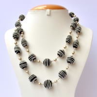 Handmade Black Necklace Studded with Silver Metal Chain