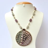 Handmade Necklace Studded with White & Purple Rhinestone Beads