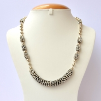 Handmade Necklace Studded with White Rhinestones on Black Base