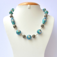 Handmade Blue Glitter Necklace Studded with Rainbow Rhinestones