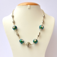 Handmade Teal Glitter Necklace Studded with Aqua & White Rhinestones