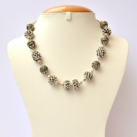 Handmade Black Necklace Studded with White Rhinestones