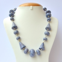 Handmade Necklace with Disc Shaped Dark & Light Color Blue Beads