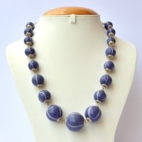 Handmade Necklace with Dark Blue Beads having Light Blue Stripes