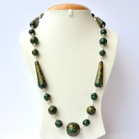 Handmade Necklace with Dark Green Beads having Golden Spots