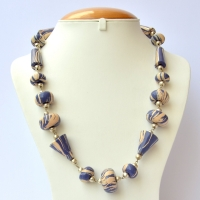 Handmade Necklace with Blue Beads having Cream Spots