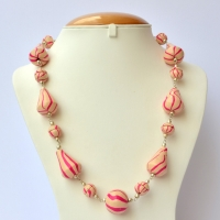Handmade Necklace with Cream Beads having Pink Stripes