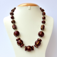 Handmade Necklace with Maroon Beads having Golden Stripes