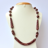 Handmade Necklace with Maroon Beads having Cream Color Stripes