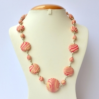 Handmade Necklace with Flat-Round Cream Beads having Pink Stripes