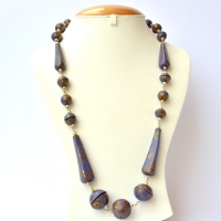 Handmade Necklace with Blue Beads having Golden Spots