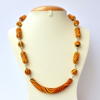 Handmade Necklace having Yellow Beads with Black Stripes