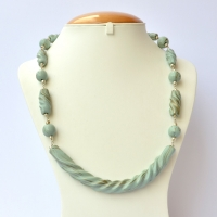 Handmade Necklace with Alice Blue Beads having Silver Stripes