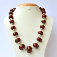 Handmade Necklace with Maroon Beads having Green Stripes