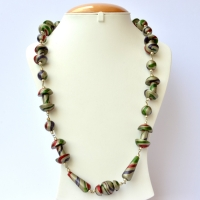 Handmade Necklace with Silver Beads having Multicolor Stripes