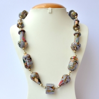Handmade Lac Necklace with Blue Beads having Multicolor Stripes