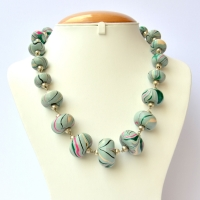 Handmade Necklace with Light Blue Beads having Multicolor Stripes