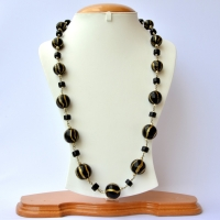 Handmade Necklace with Black Lac Beads having Golden Stripes