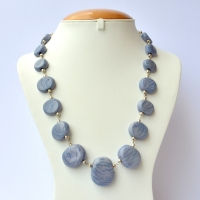 Handmade Necklace with Blue Beads having Light Blue Blend