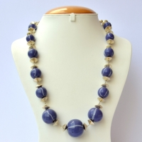Handmade Necklace with Dark Blue Lac Beads having Light Blue Stripes