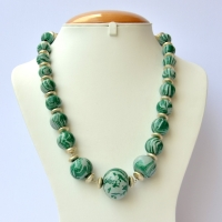 Handmade Necklace with Green Beads having Blend of Dark & Light Color