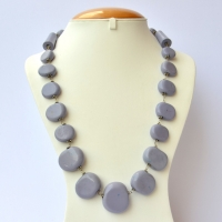 Handmade Necklace with Blue Lac Beads in Flat Shape