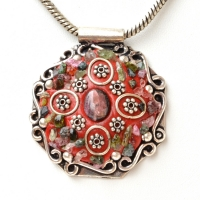 Handmade Red Pendant Studded with Gemstones & Metal Accessories
