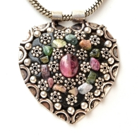Handmade Black Pendant Studded with Gemstones & Metal Flowers