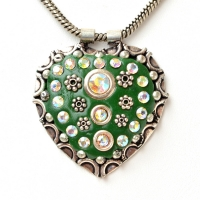 Handmade Green Pendant Studded with Metal Flowers & Rhinestones