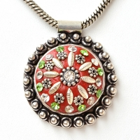 Handmade Red Pendant Studded with Rhinestones & Metal Accessories
