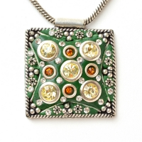 Handmade Green Square Pendant Studded with Metal Flowers